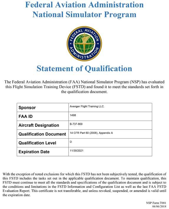 Boeing 737 #1 FAA ID 1498 Specs