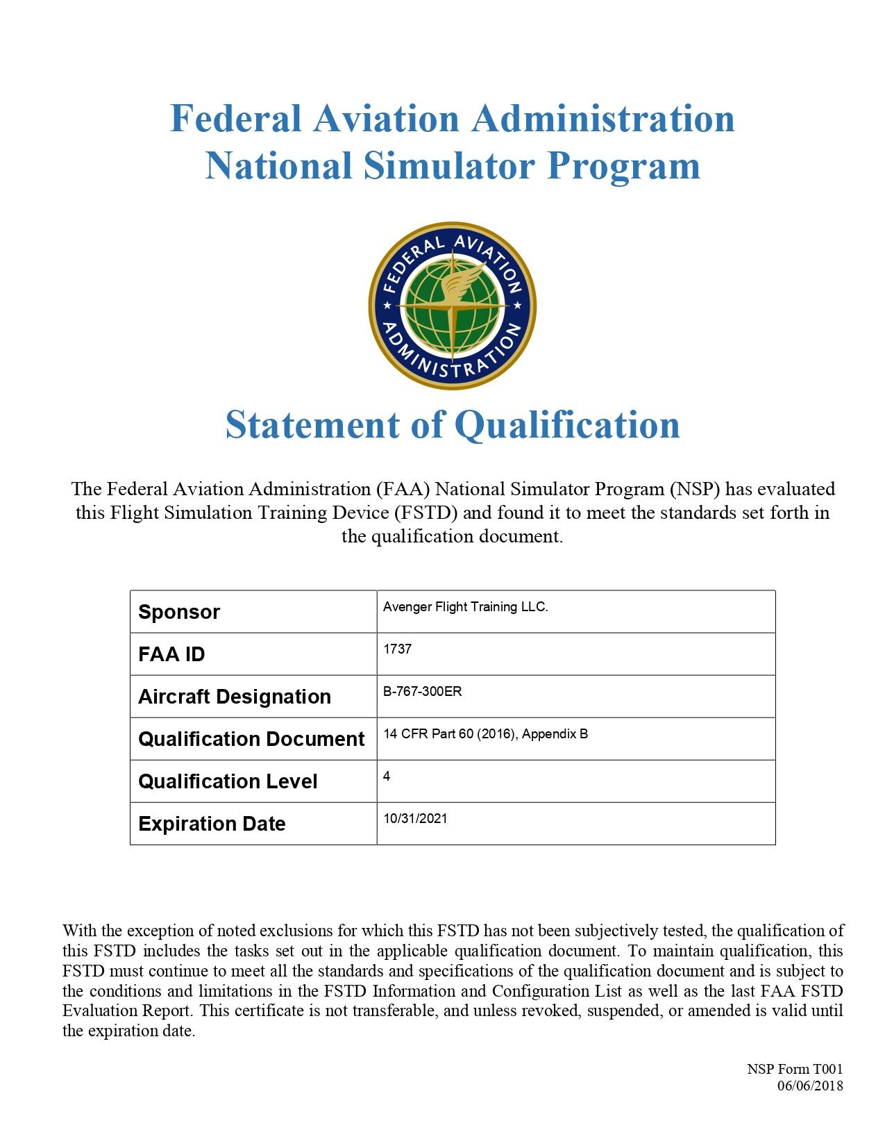 Boeing 767 FTD-FAA 1737