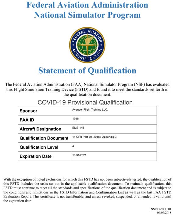 Embaer 145 FTD #1 FAA ID 1765 Specs
